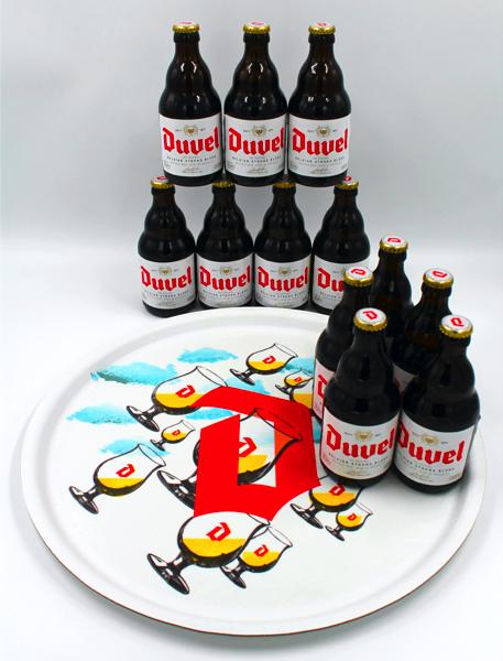 12 pack cerveza duvel + bandeja